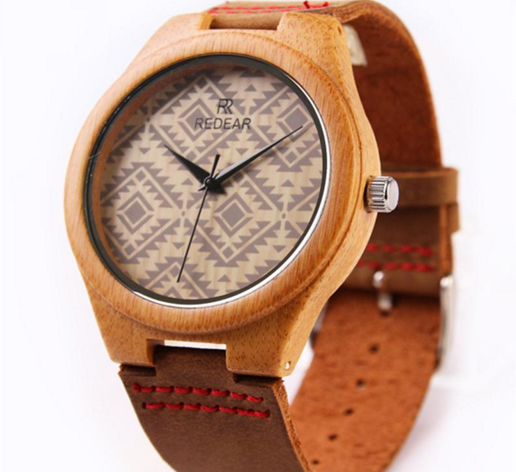 Contemporary Art Unisex Geometry Themed Bamboo Watch Fathers Day Gift