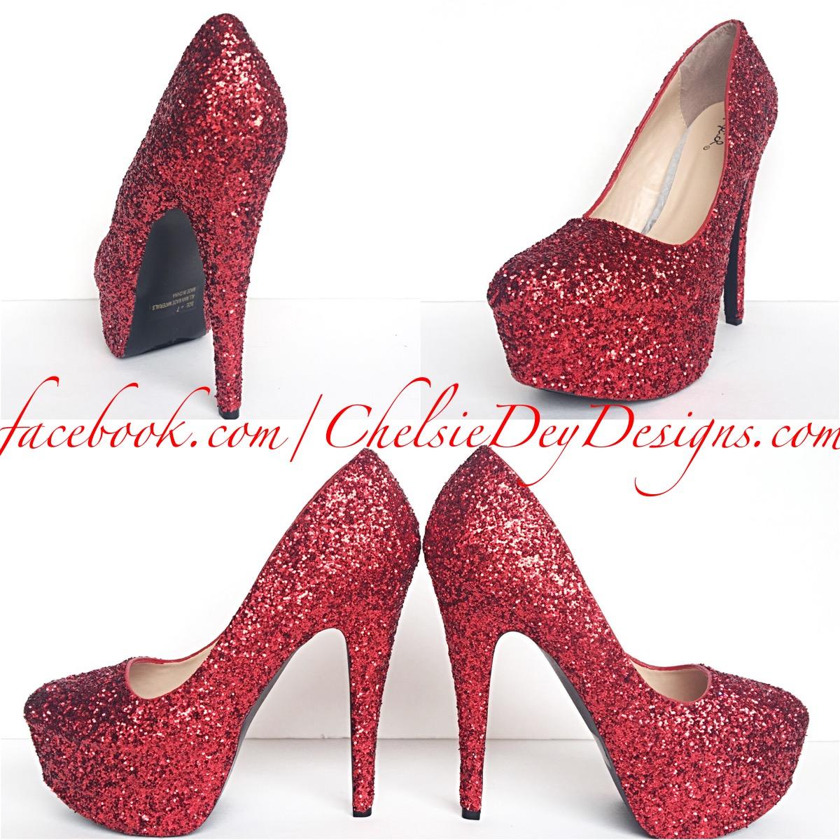 fa0c21d704fe Red Glitter High Heels