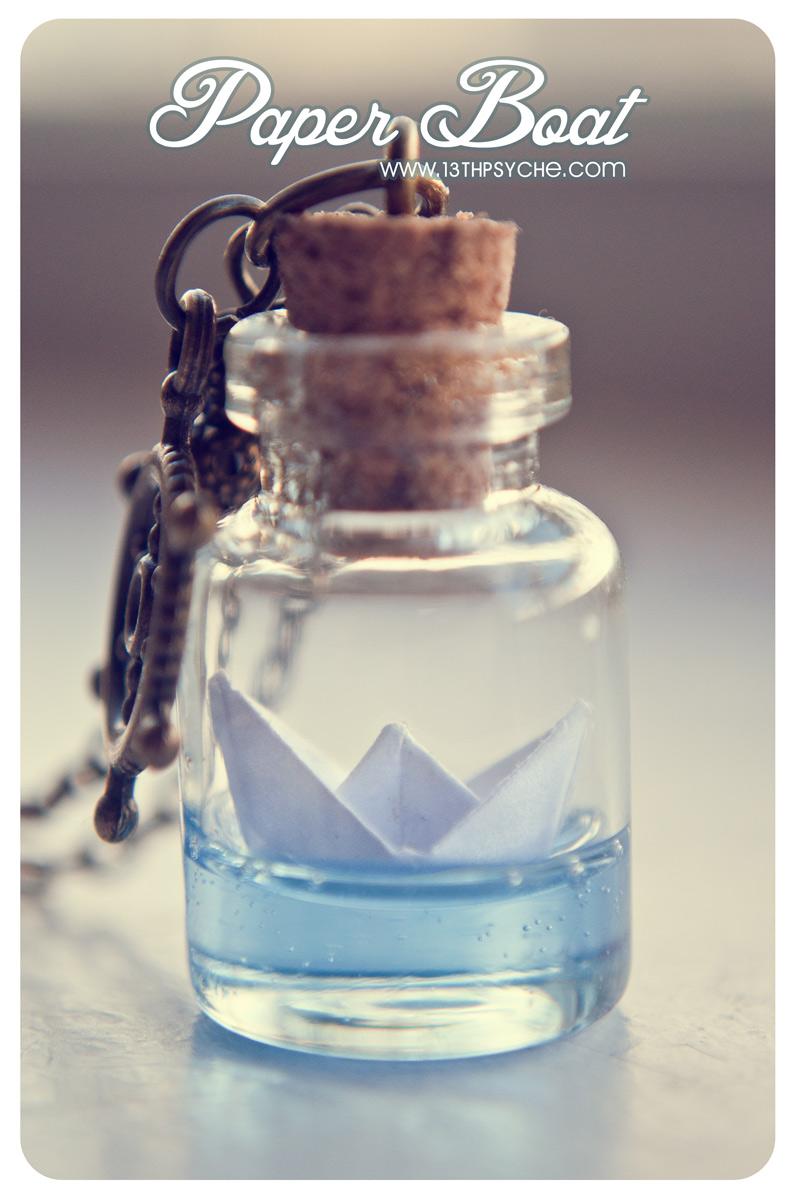 Glass Bottle Pendants Paper boat bottle necklace ocean necklace glass vial necklace paper1 original audiocablefo