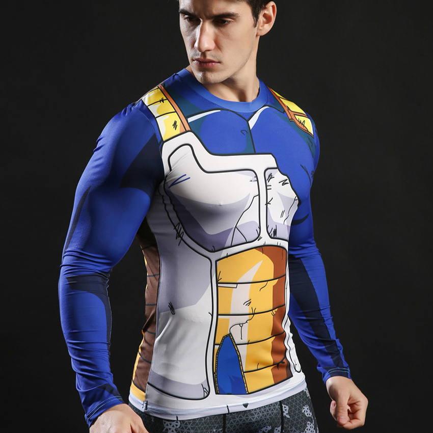 Vegeta Damaged Battle Suit Dragon Ball Mens Fitted Long Sleeve T-shirt