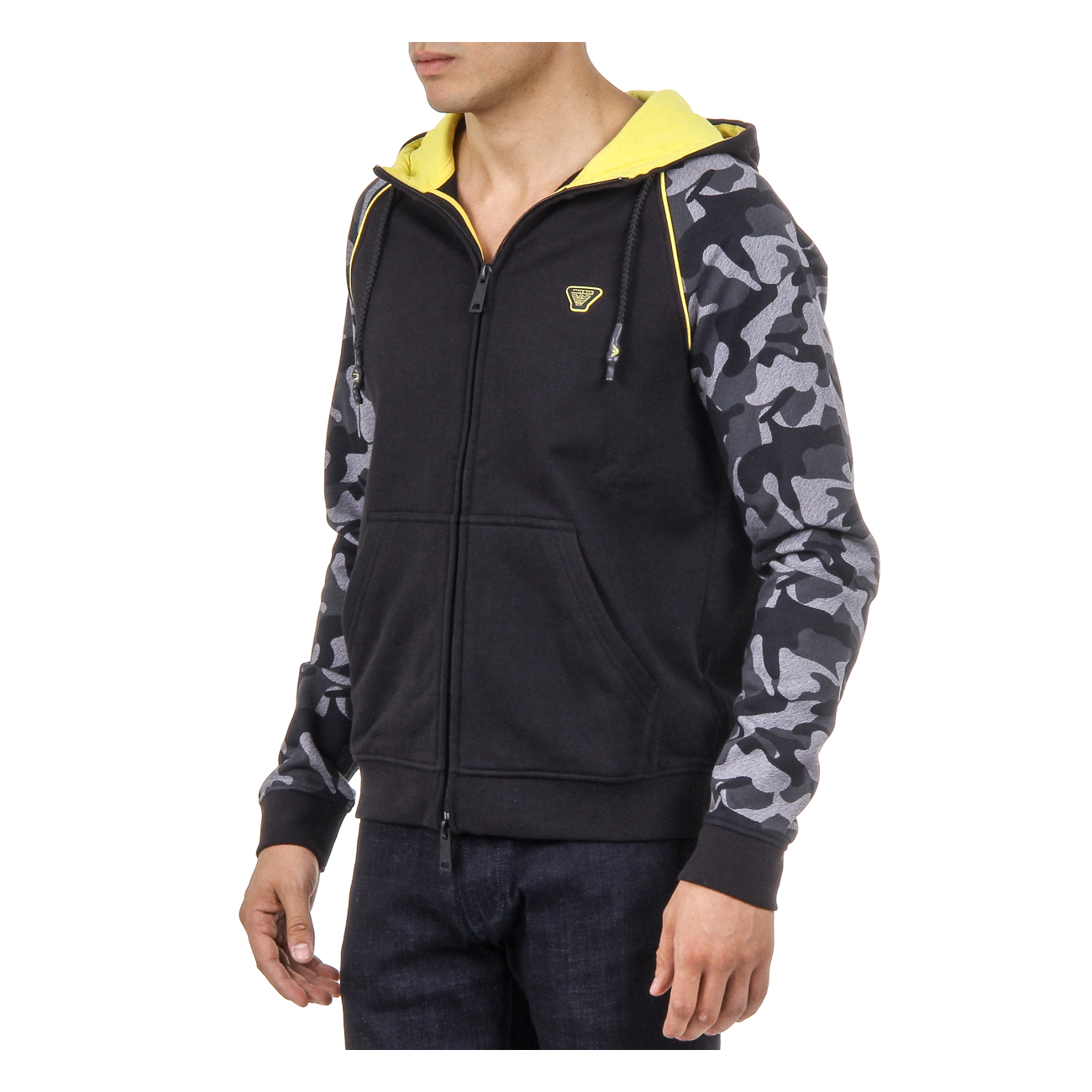 Armani Jeans Mens Hoodie With Zip Long Sleeves Black