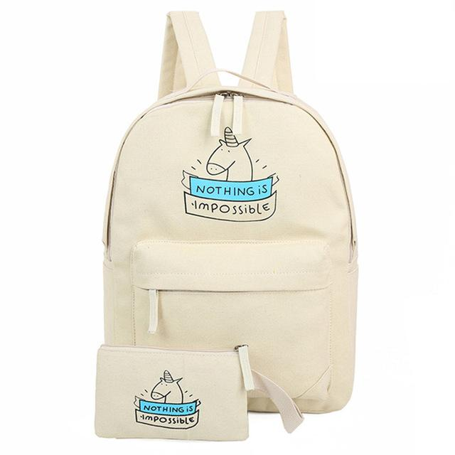 Nothing IS Impossible Unicorn Backpack AND Purse SET (73846472 REBEL STYLE SHOP) photo