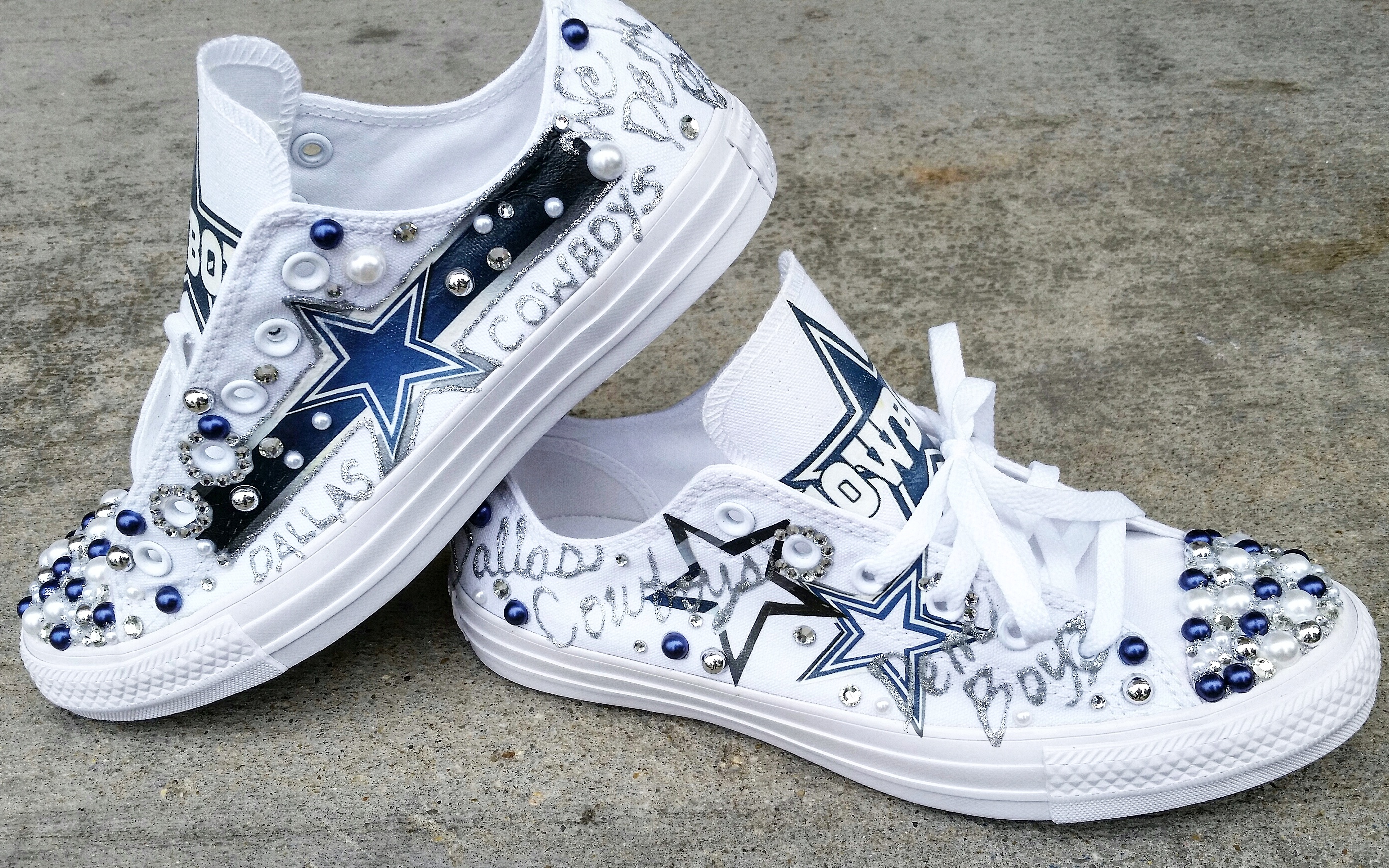 abc4d917ff18ef ... bling rhinestone converse sneakers low top 6759b 6da43  ireland custom  low top dallas cowboys converse thumbnail 1 1d7d3 366ee