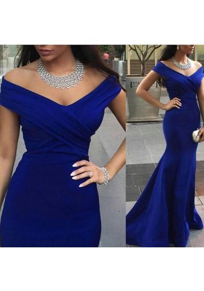 Prom Dress Formal Dress Royal Blue Off The Shoulder Brush Train Trumpet Mermaid Prom Dress-210