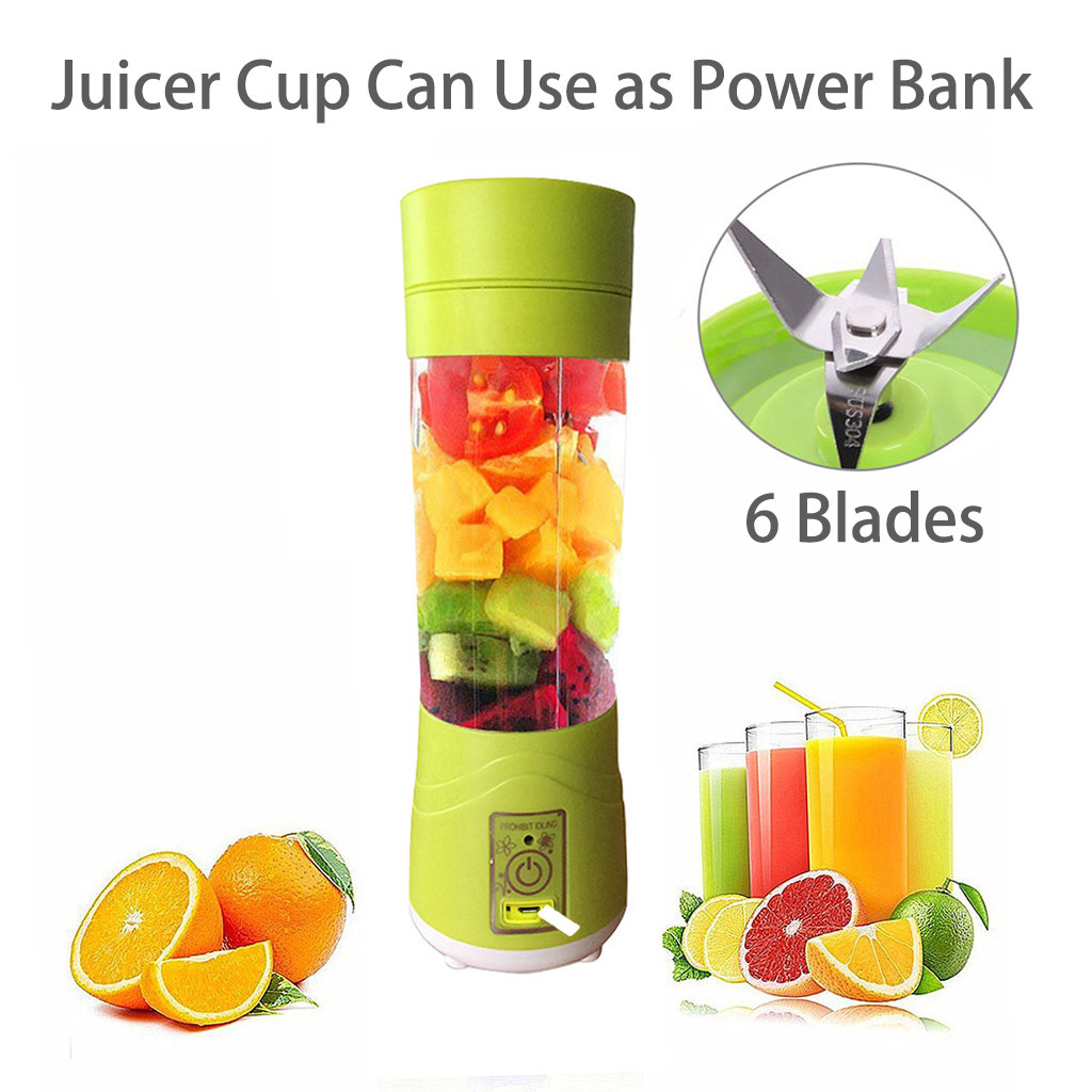 Juicer Cup Blender-top Rated Portable Usb Electric Juicer Bottle Blender 13 Oz 6 Blades Built-in 2200mah Rechargeable Battery Can Use As Power Bank