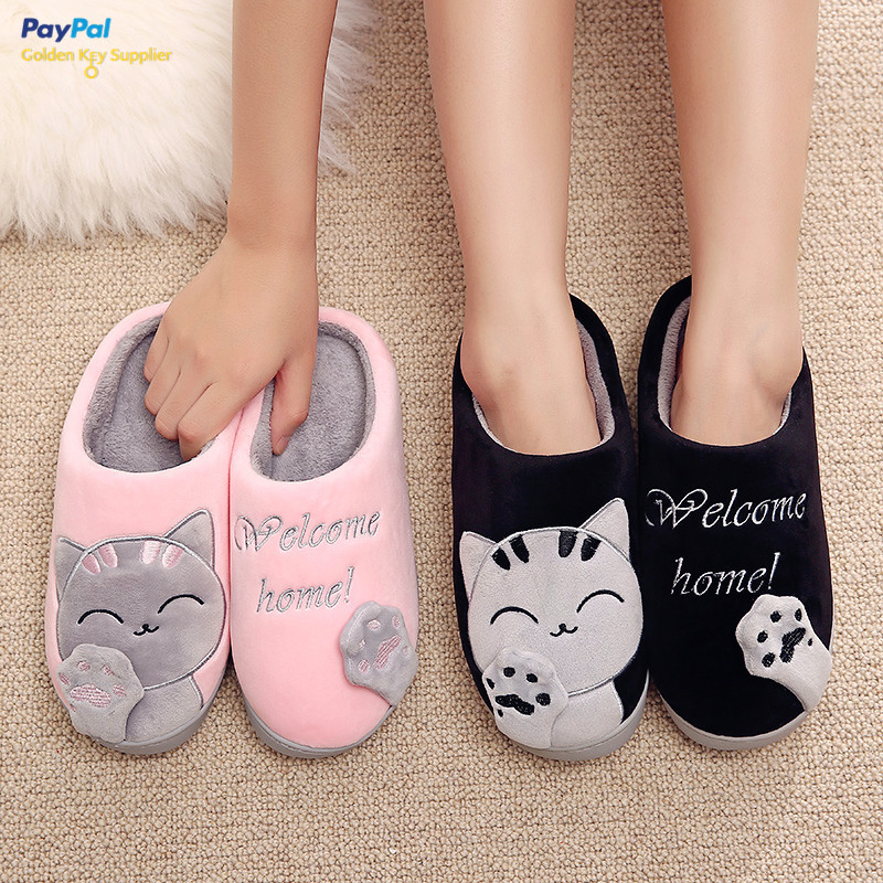 Free Dhl Shipping Cozy Cat Paw Fleece Slippers