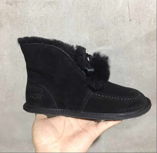 Womens Shoes Ugg Kallen Suede Moc Toe Pom Pom Slipper 1017541 Black