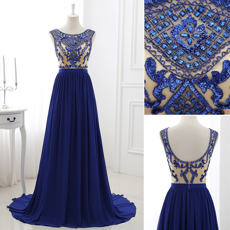 Beaded Royal Blue Bateau Chiffon Prom Dress-evening Gown With Low Back