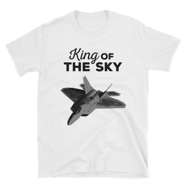 F-22 Fighter Jet War Plane Airplane Aviation King Of The Sky Mens Womens White Short-sleeve Unisex T-shirt