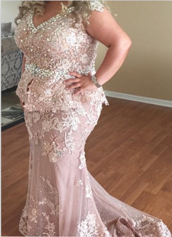 c68a94443f805 Plus Size Prom Dress Elegant Cap Sleeves Peplum Long Lace Pearls Crystal  Prom Evening Dress E277