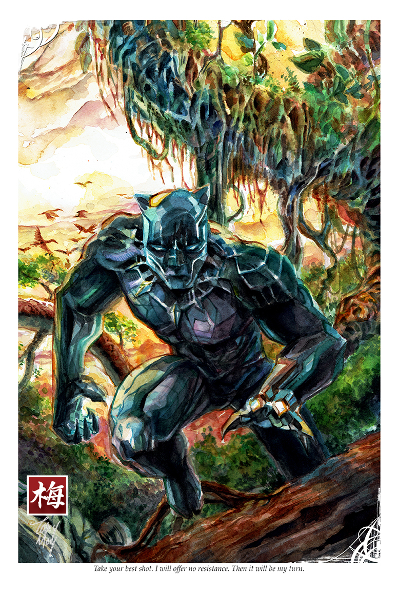 1f6737dba7032 Black Panther Hunting - t'challa - Watercolor Print