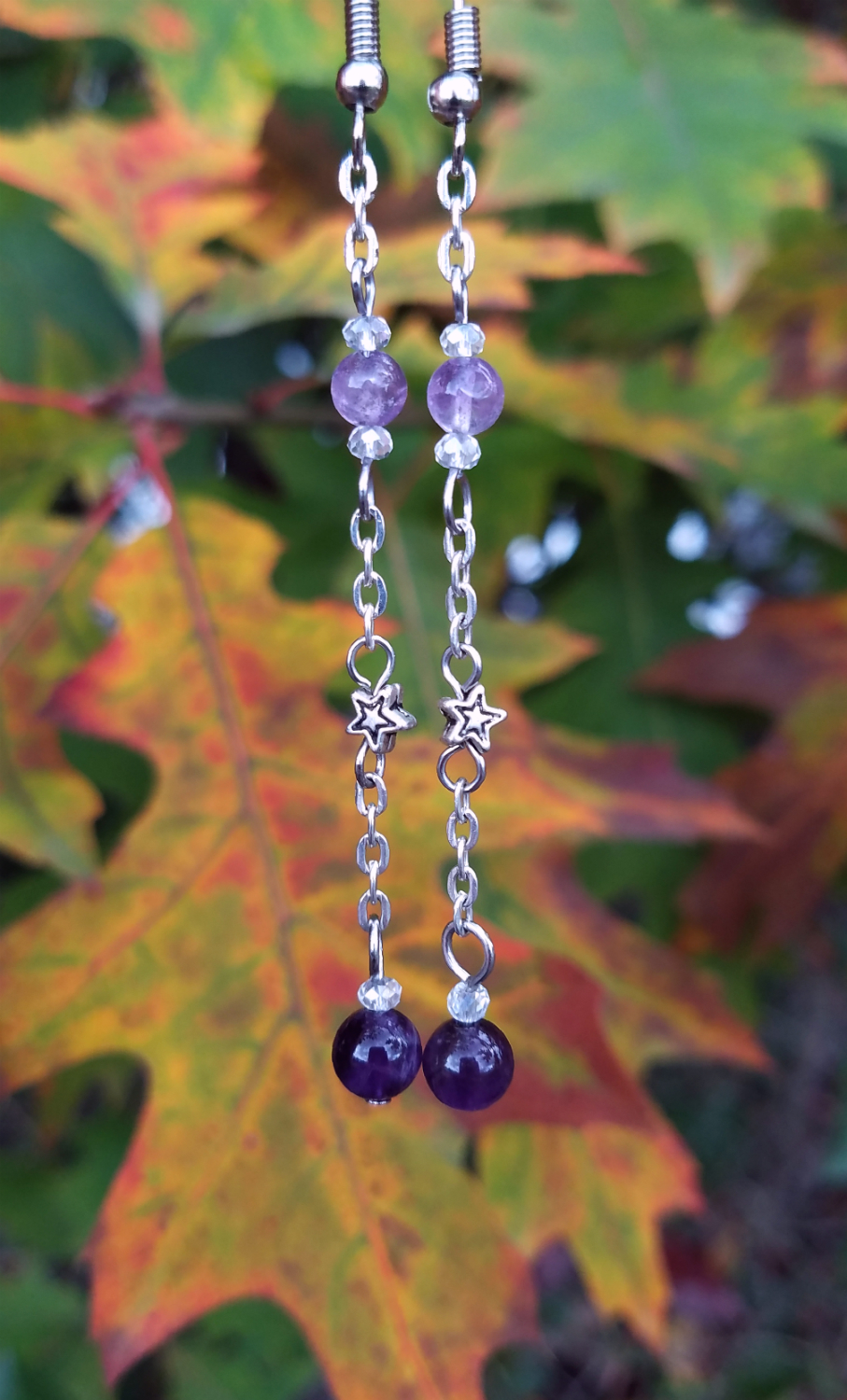 Amethyst And Star Earrings (50% Of Proceeds Available For Donation. Check Description For Details.)