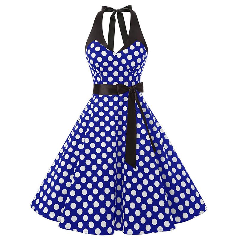 50s Retro Style Halter Blue White Polka Dots Vintage Swing Party ...