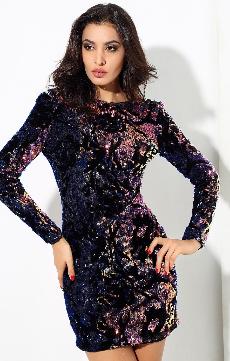 Velvet Iridescent Sequin Dress
