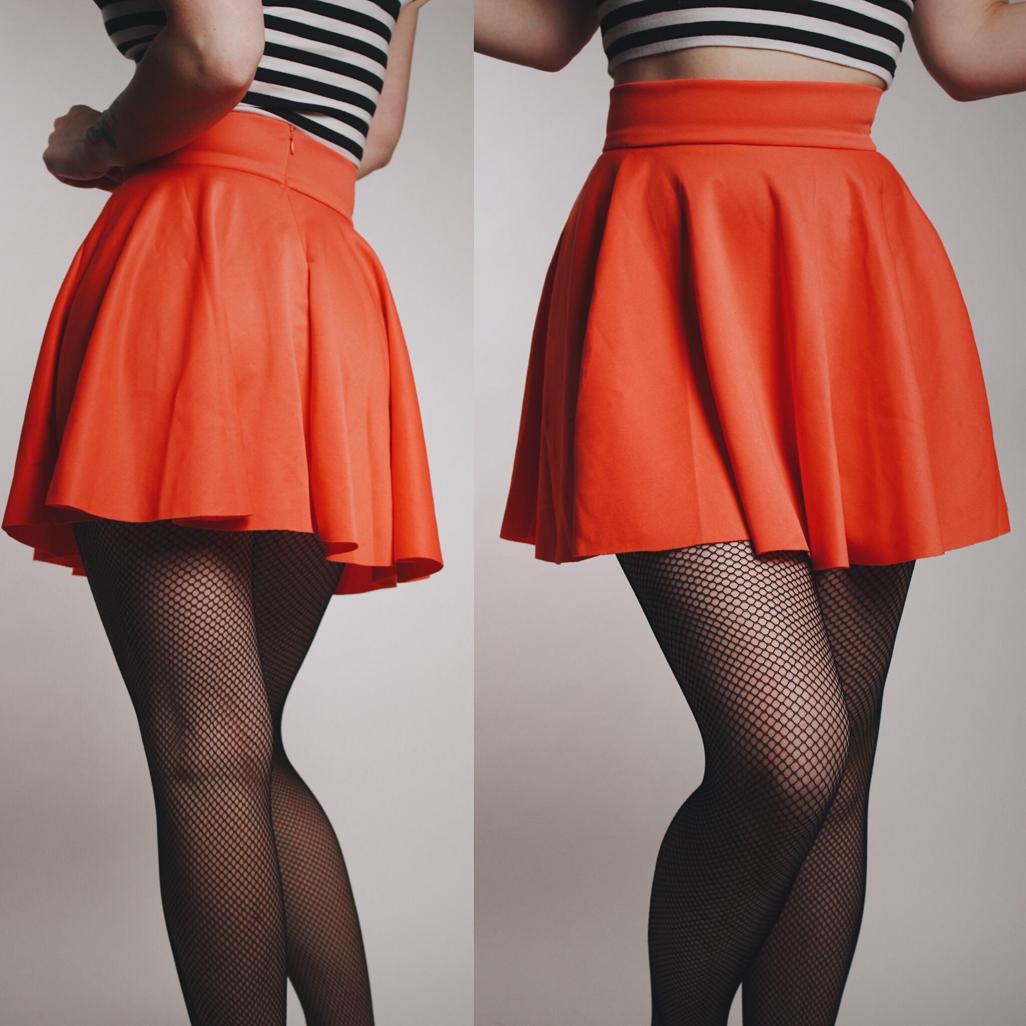 0714dc3573 CLAIMED  Joanne - Vintage 90s Neon Orange Spandex Skater Skirt ...