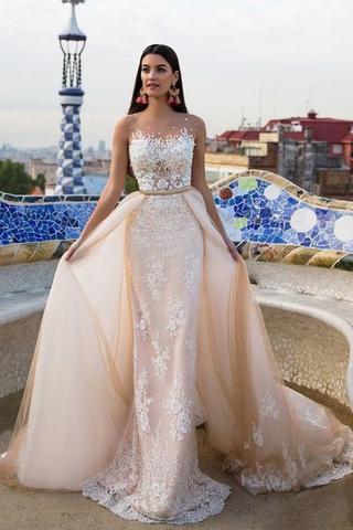 084ceeed558f Lace wedding dresses,Elegant modest wedding dresses,Mermaid Bridal Dresses,Detachable  Train Wedding