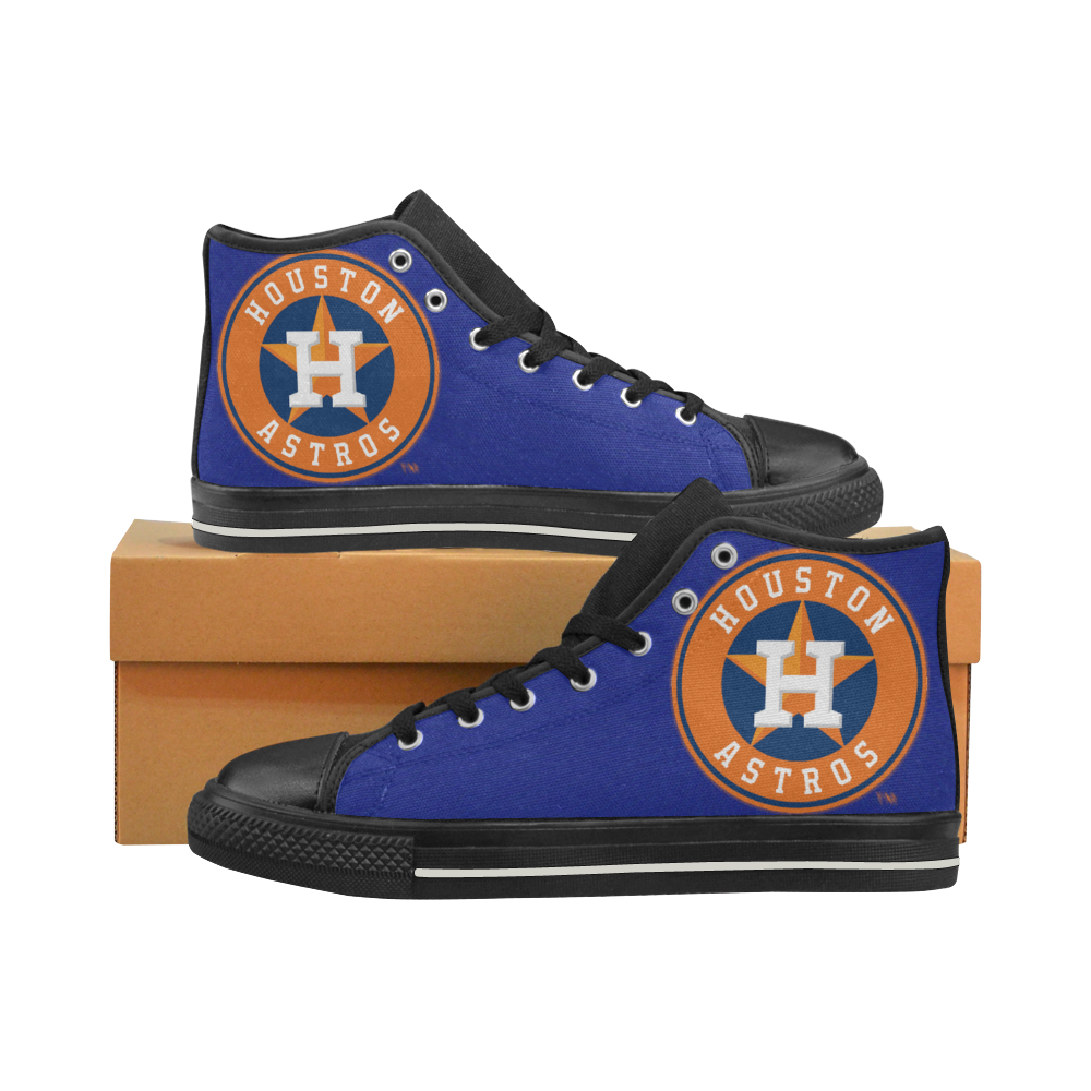 Houston Astros Mens Classic High Top Black Canvas Shoes Canvas Sneakers Size 6-14 Unisex Adults (kidsToo)