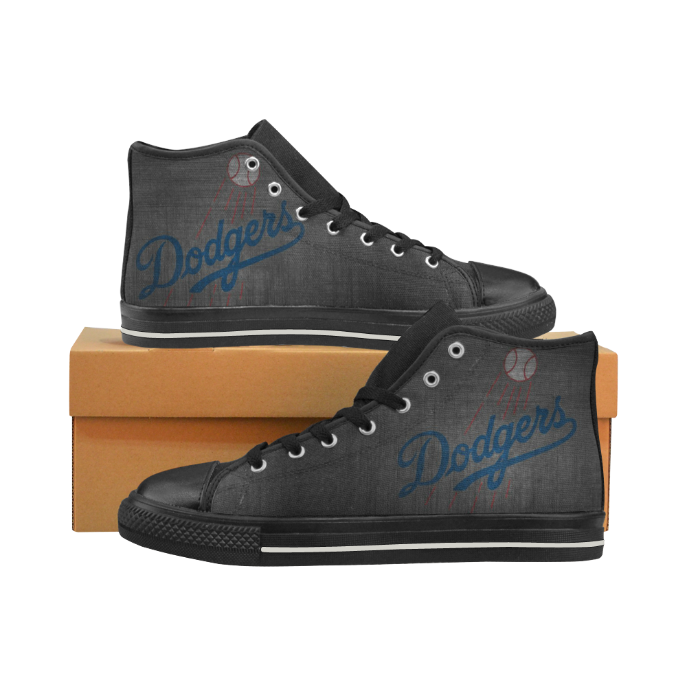 La Dodgers Mens Classic High Top Black Canvas Shoes Canvas Sneakers Size 6-14 Unisex Adults (kidsToo)