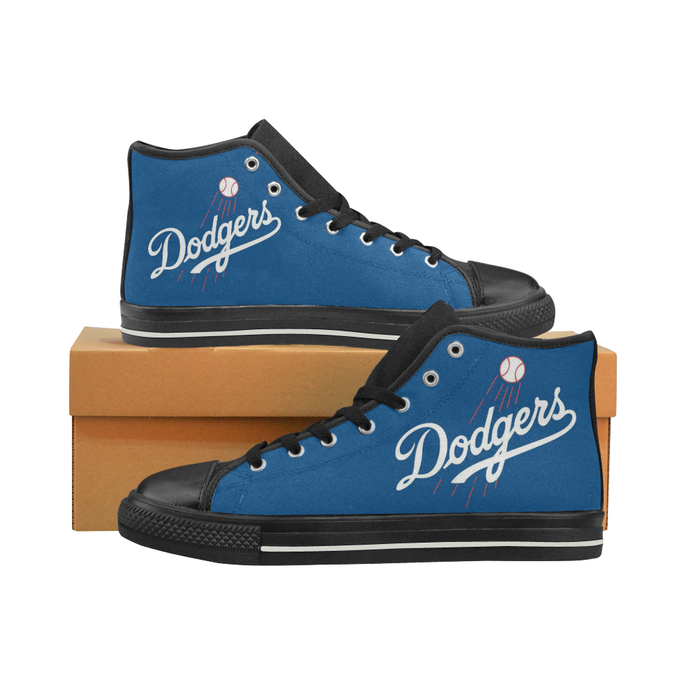 La Dodgers #2 Mens Classic High Top Black Canvas Shoes Canvas Sneakers Size 6-14 Unisex Adults (kidsToo)