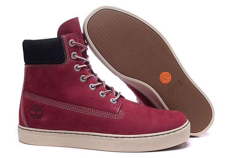 2016 Timberland Authentic Mens 6867r High Cut Boots Sneaker-red Wine