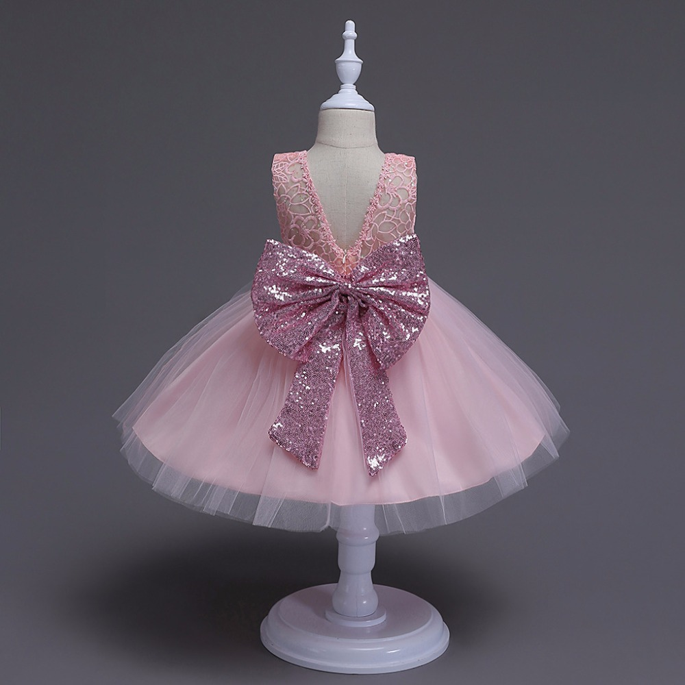 b8c82868aa6 Pink sequin bow pink lace dress