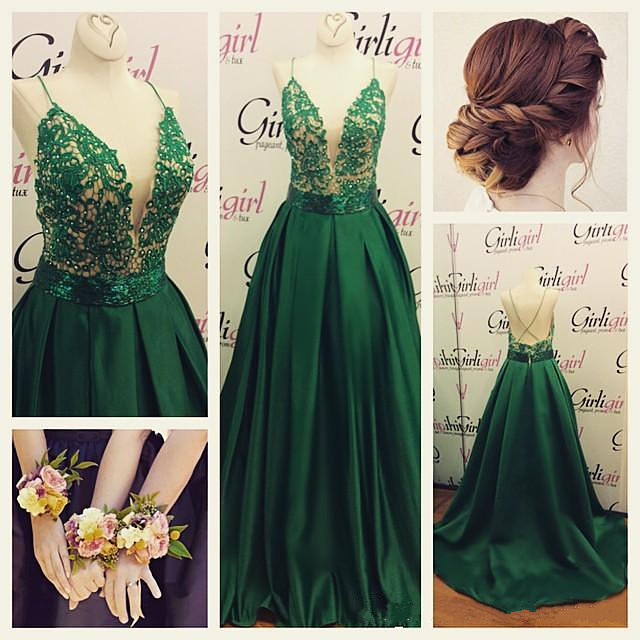Dark Green Satin Deep V Neck Prom Gown With Spaghetti Straps on Storenvy