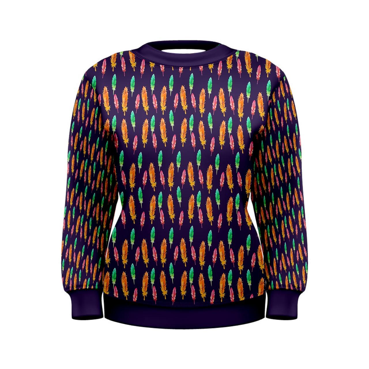 Womens Multi Feather Print Sweatshirt