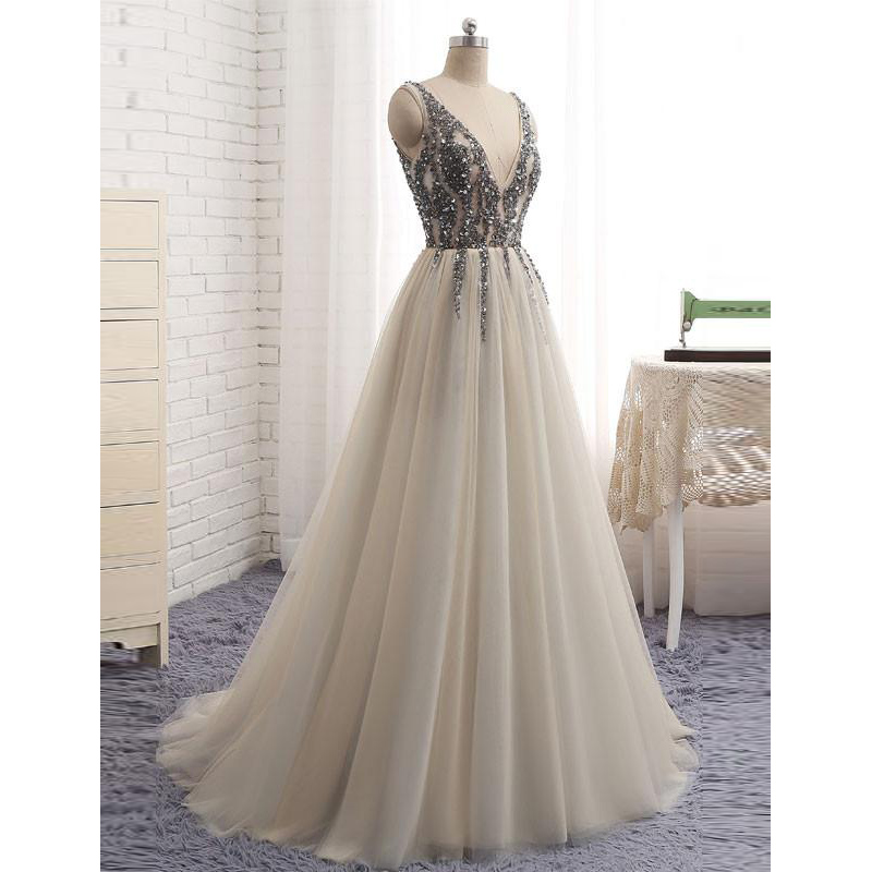 9be36c68913 Silver 20v 20neck 20sleeveless 20a 20line 20tulle 20prom 20dress 2copen  20back 20formal 20evening 20gown 20with 20beaded