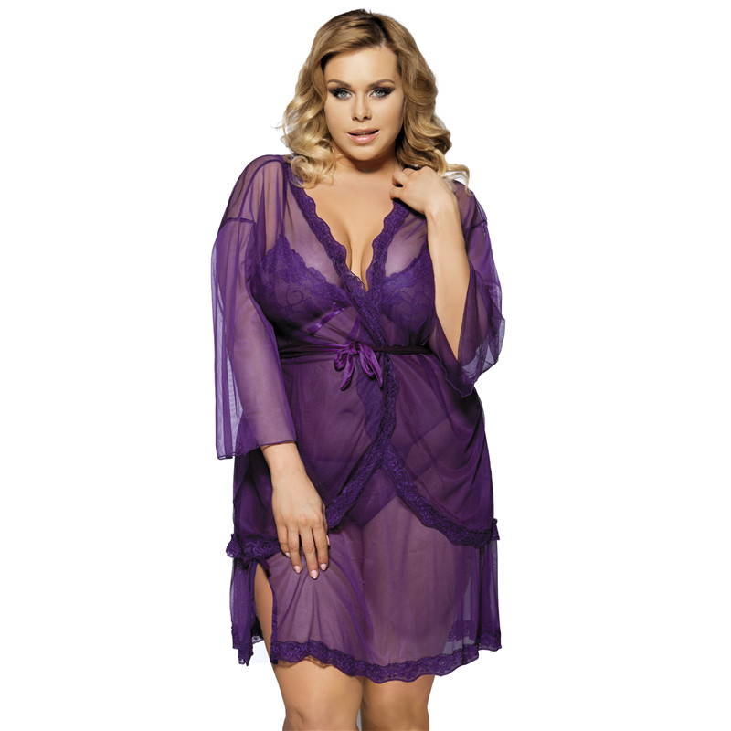 Sexy Woman Purple Black 3 Pcs Lingerie Transparent Chiffon Lace Sleepwear Set Costumes Erotic Dress Robe Lingerie Sy294