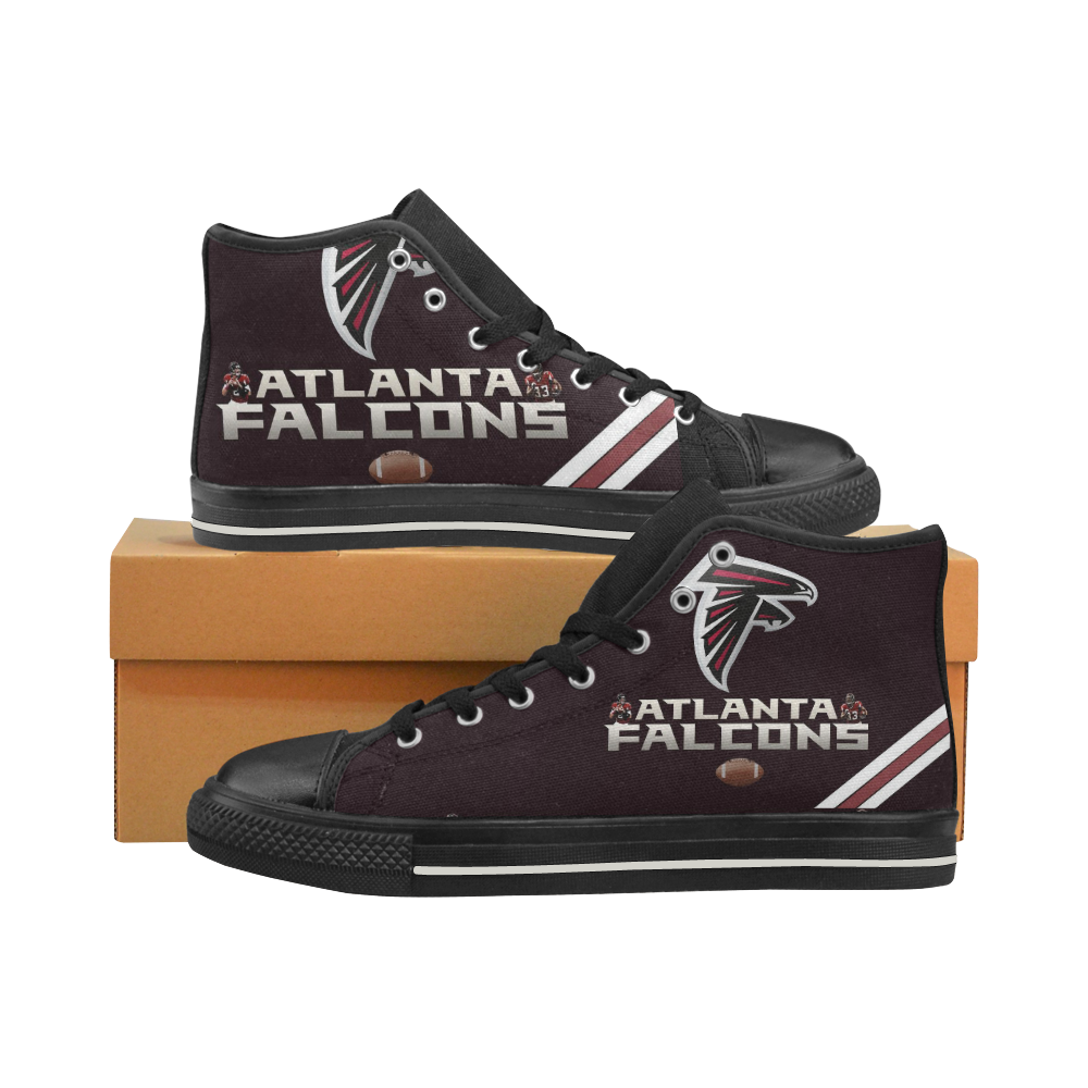 Atlanta Falcons #2 Mens Classic High Top Black Canvas Shoes Canvas Sneakers Size 6-14 Unisex Adults (kidsToo)