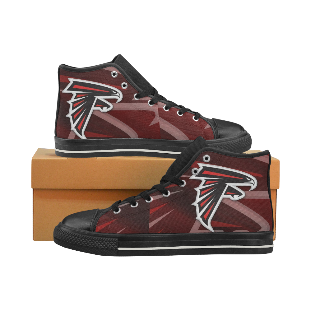 Atlanta Falcons #4 Mens Classic High Top Black Canvas Shoes Canvas Sneakers Size 6-14 Unisex Adults (kidsToo)