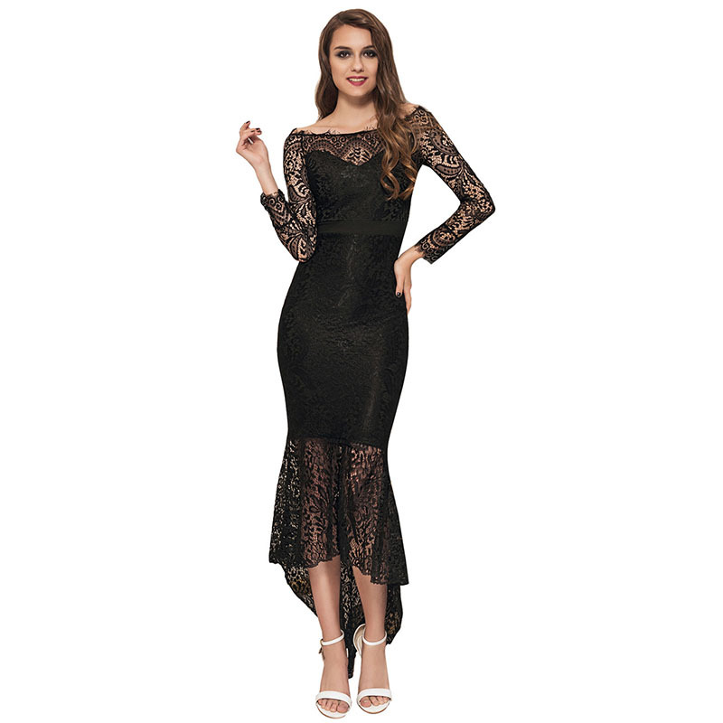 Maxi Lace Dress Vestidos Longos Mermaid Slash Neck Lace Robe Longue Evening Clubwear Sheath Sundress Sy301
