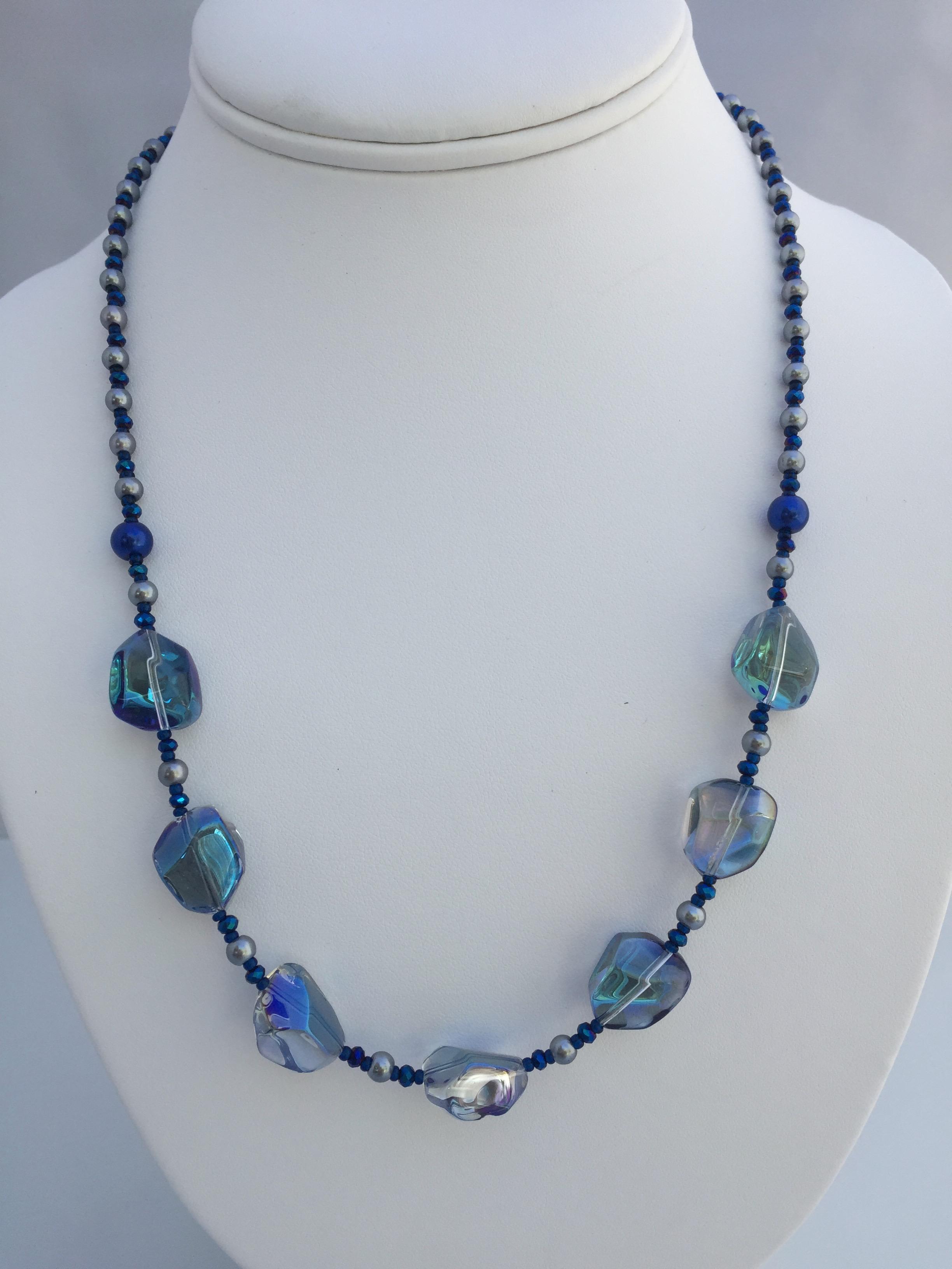 "Blue Glass ""rock"" Necklace"