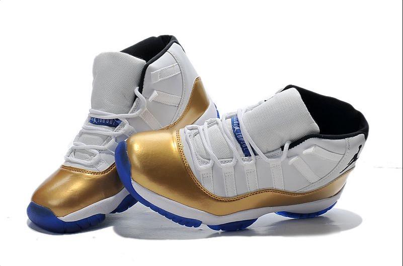 Nike Air Jordan 11 Custom White-gold True Blue For Sale