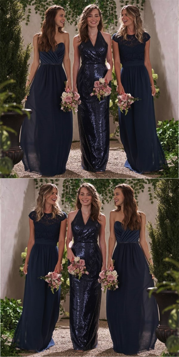 Navy Blue Long Bridesmaid Dresses Sparkly Chiffon Sequin Bridesmaid Dress Dress For Wedding Pd17662 From Fitdesigndress
