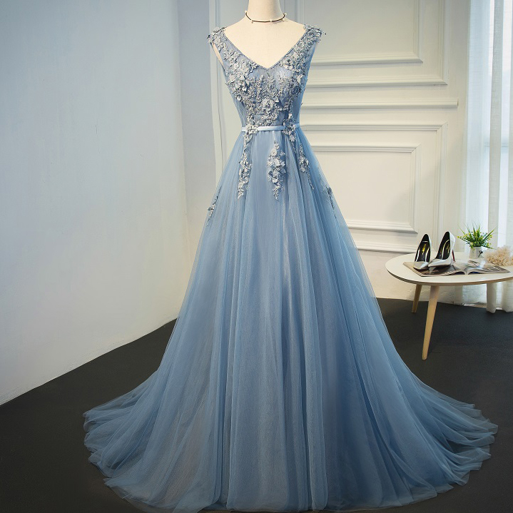 bbf951ccb316 Sexy Backless Dusty Blue V Neckline Lace Beaded Evening Prom Dresses ...