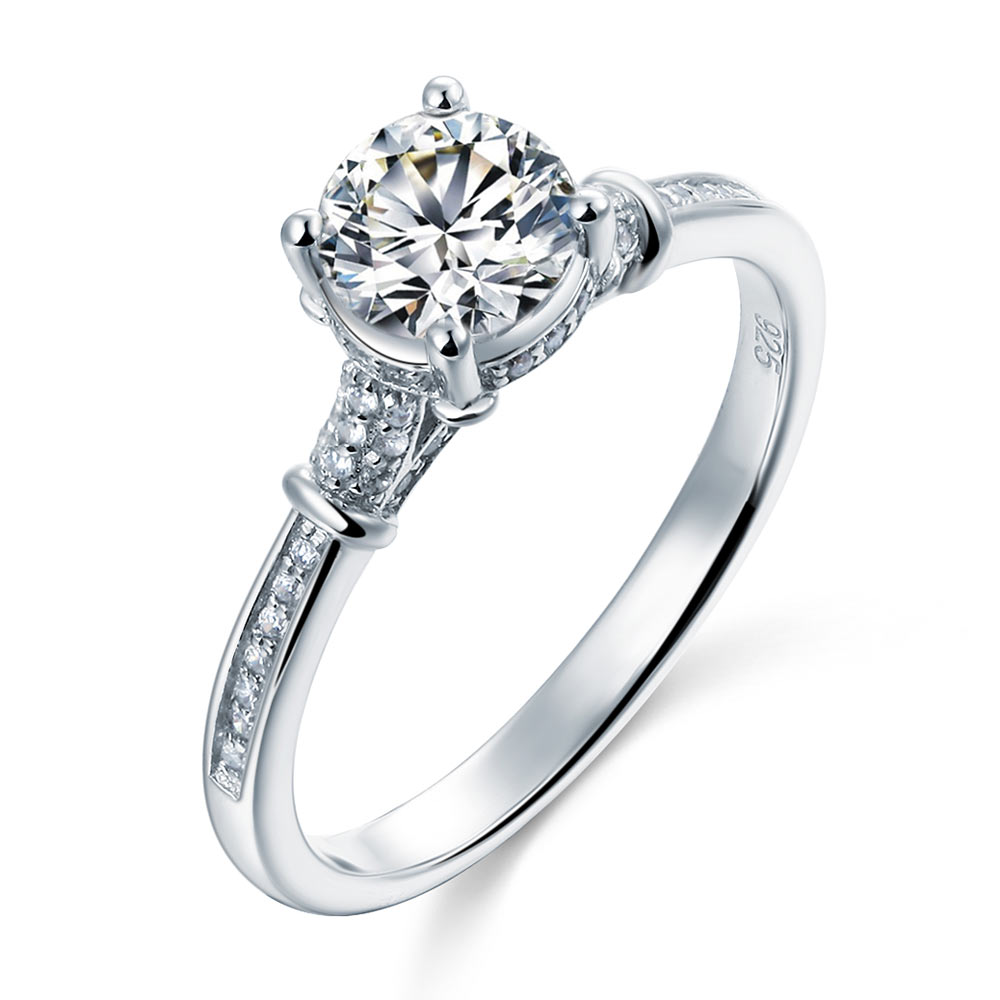 Sterling 925 Silver Wedding Engagement Cathedral Ring