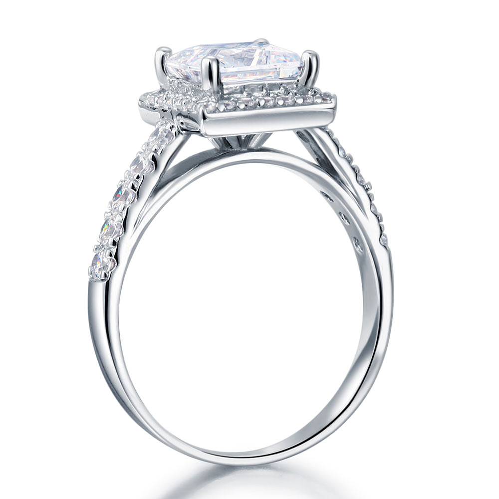 925 Sterling Silver Luxury Halo Ring 6 Ct Lab Created Cushion Diamond
