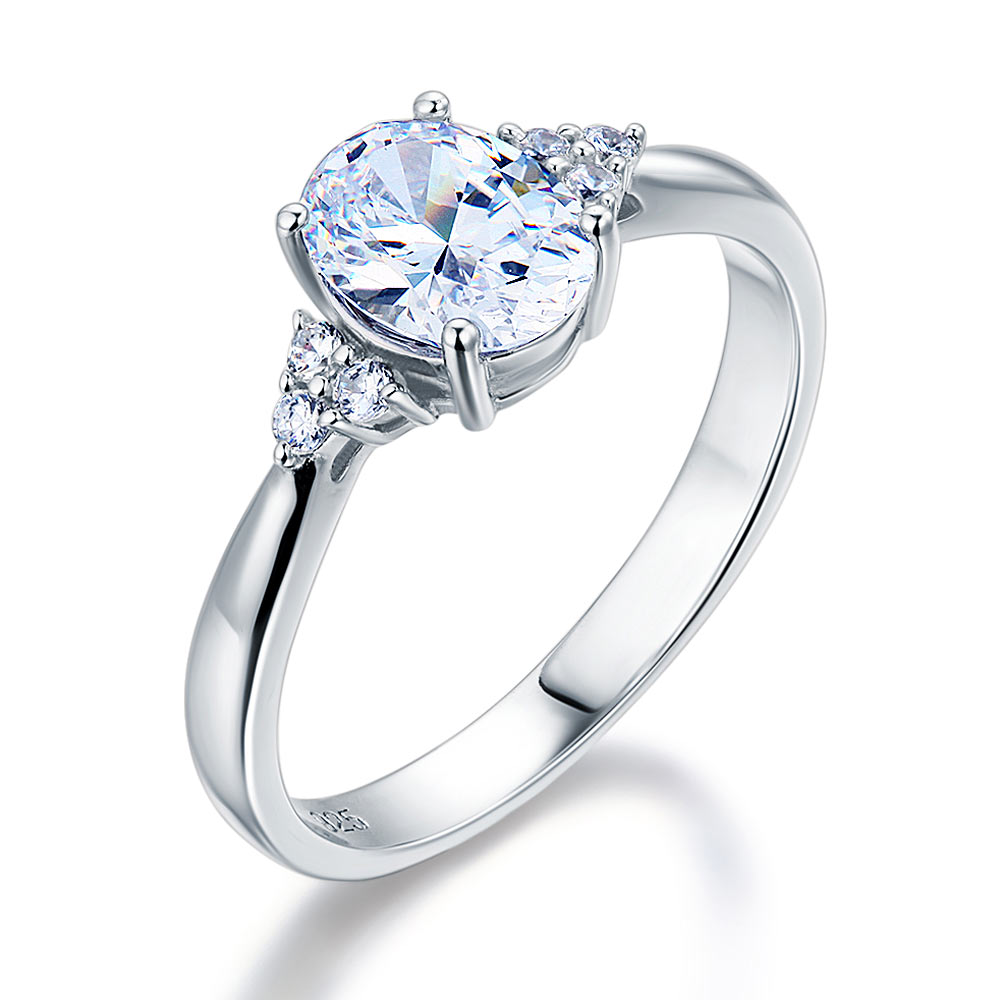 Oval Created Diamond Sterling 925 Silver Ring Wedding Engagement
