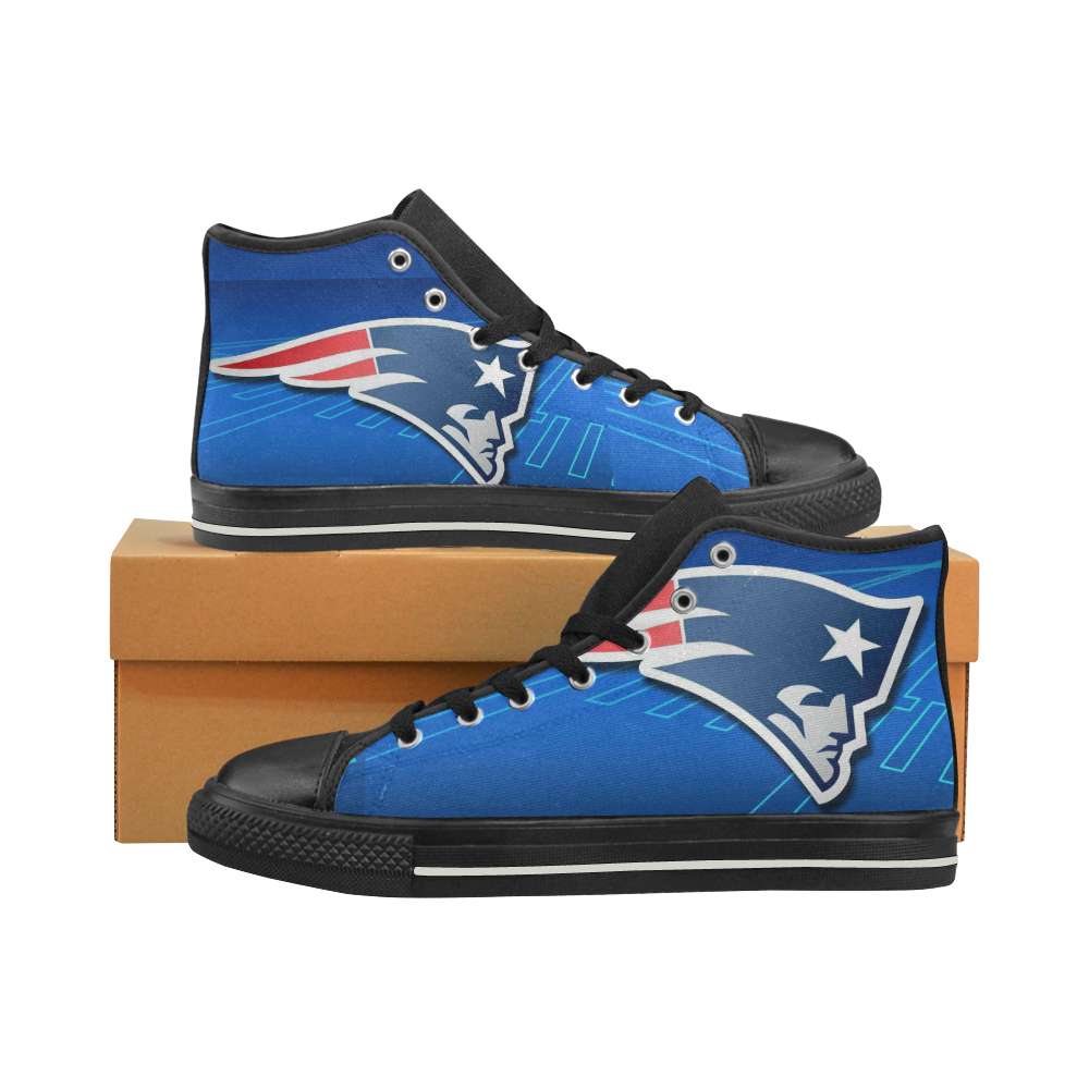 New England Patriots #4 Mens Classic High Top Black Canvas Shoes Canvas Sneakers Size 6-14 Unisex Adults (kidsToo)