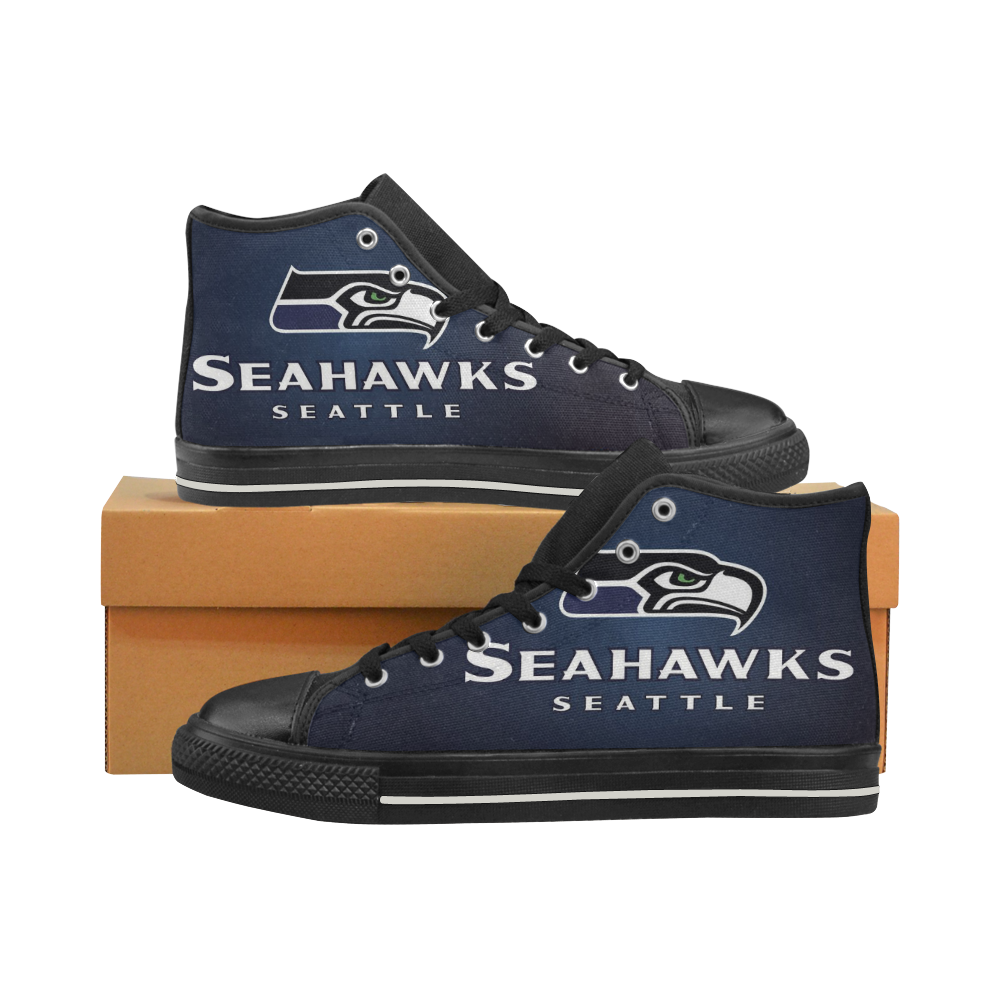 Seattle Seahawks #3 Mens Classic High Top Black Canvas Shoes Canvas Sneakers Size 6-14 Unisex Adults (kidsToo)
