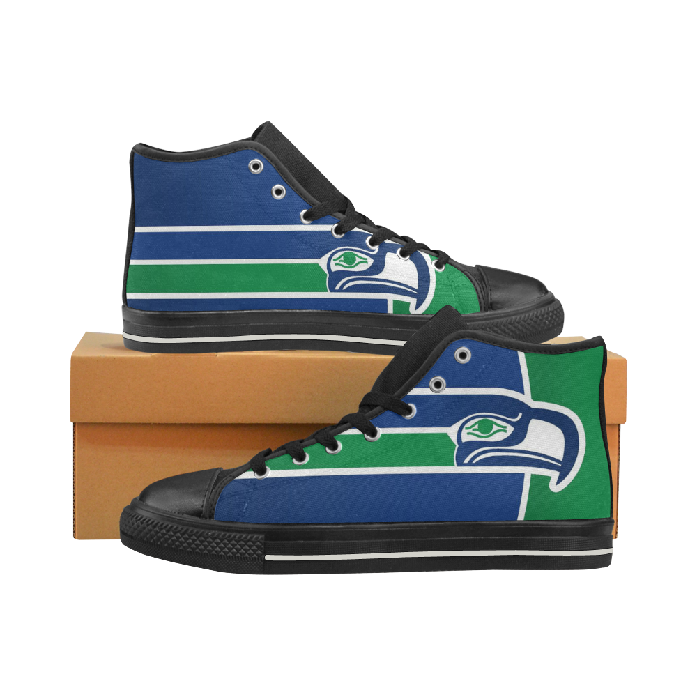 Seattle Seahawks #4 Mens Classic High Top Black Canvas Shoes Canvas Sneakers Size 6-14 Unisex Adults (kidsToo)
