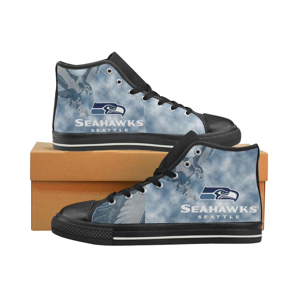 Seattle Seahawks #5 Mens Classic High Top Black Canvas Shoes Canvas Sneakers Size 6-14 Unisex Adults (kidsToo)