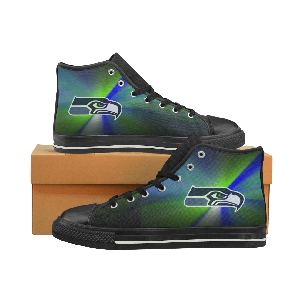 Seattle Seahawks #2 Mens Classic High Top Black Canvas Shoes Canvas Sneakers Size 6-14 Unisex Adults (kidsToo)