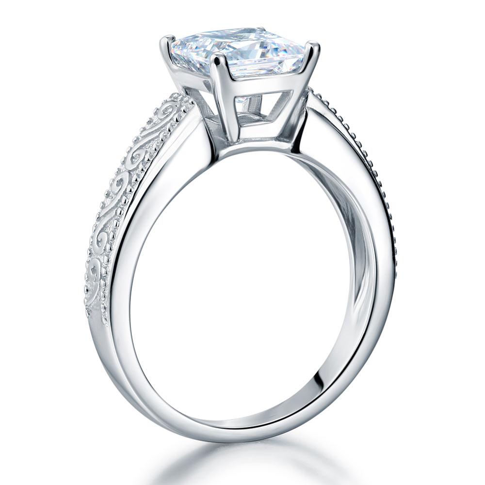 Vintage Sterling 925 Silver Bridal Ring 1.5 Carat Princess Lab Created Diamond