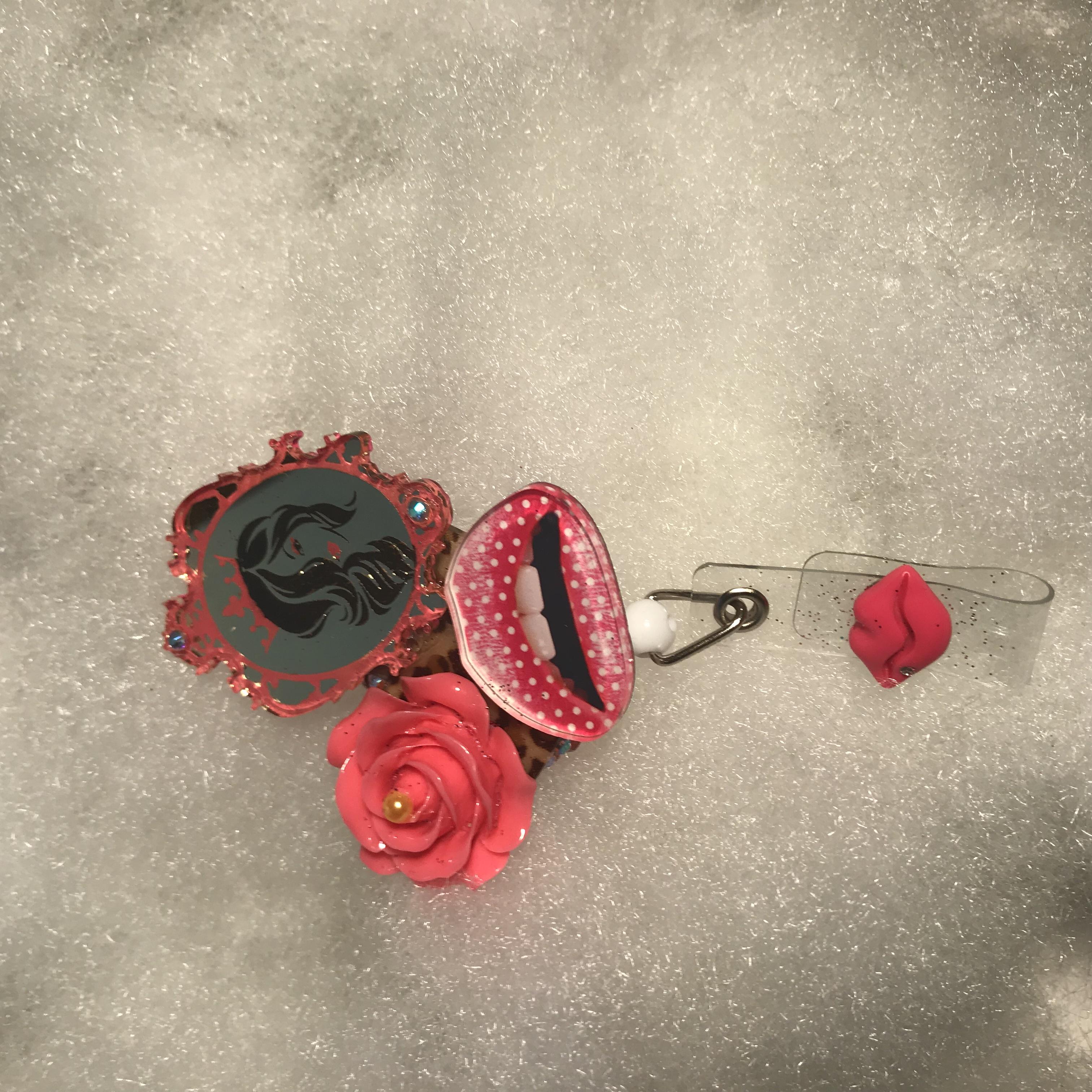 Fancy Pink Badge Reel