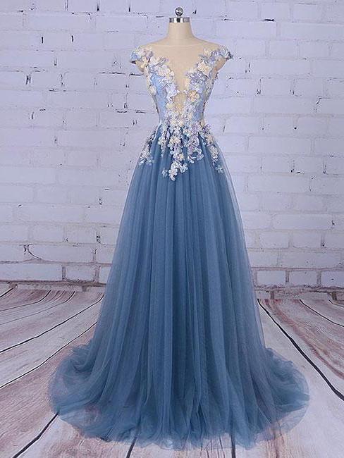 Beautiful Prom Dresses Scoop A-line Sweep/Brush Train Long Prom ...