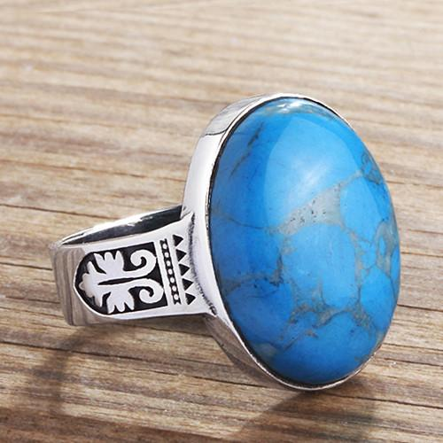Mens Gemstone Ring Sterling Silver With Blue Turquoise Natural Gemstone