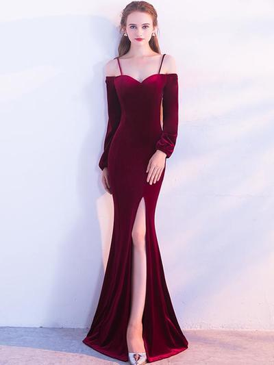 9d2f81a4c0 Unique Sheath Spaghetti Straps Long Sleeves Burgundy Long Prom Dress ...