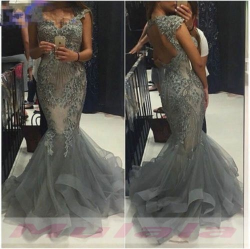 27234ded39ec8 Sliver Gray Crystal Beaded Mermaid Prom Dresses 2018 Sexy Off the Shoulder Backless  Evening Dress Long
